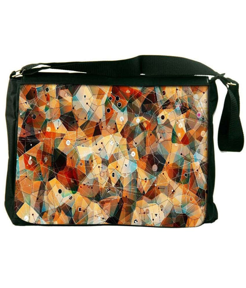 Snoogg Orange and Blue Laptop Messenger Bag Orange and Blue Messenger Bag
