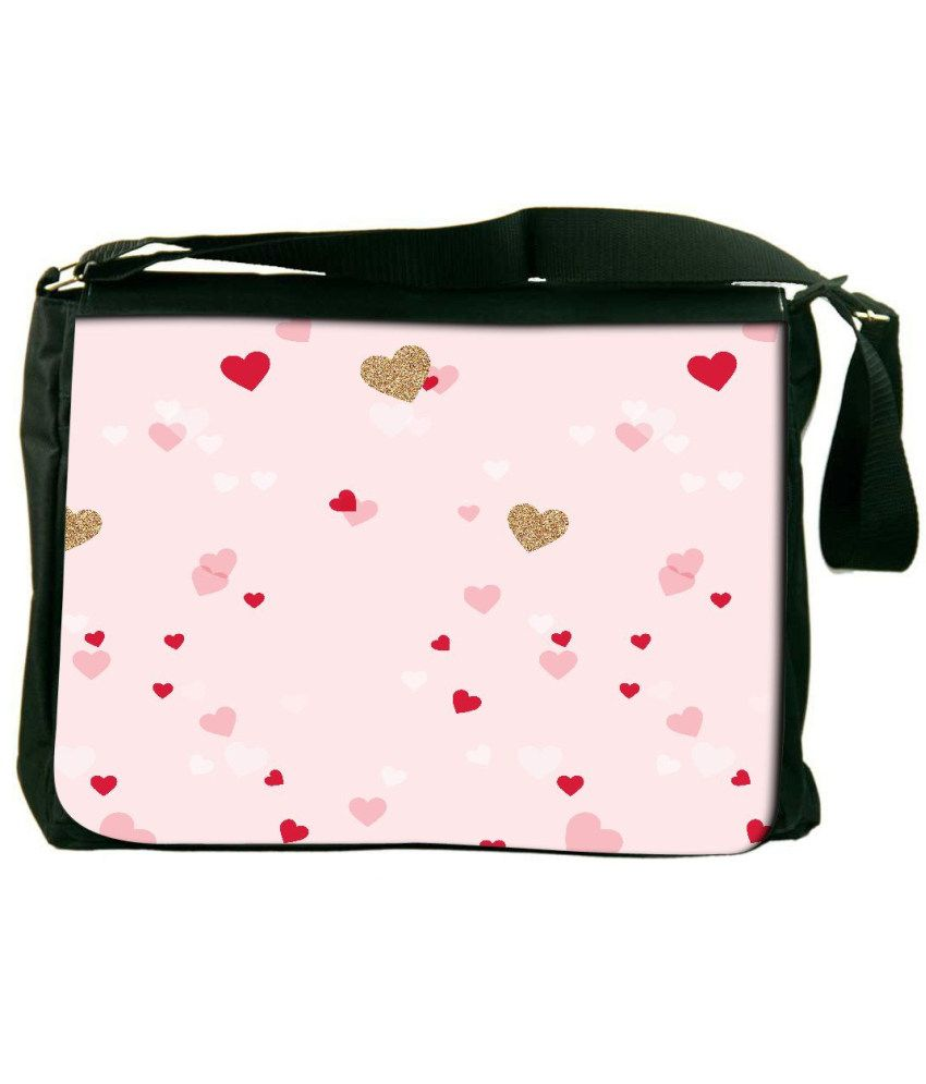 Snoogg Pink and Red Laptop Messenger Bag Pink and Red Messenger Bag