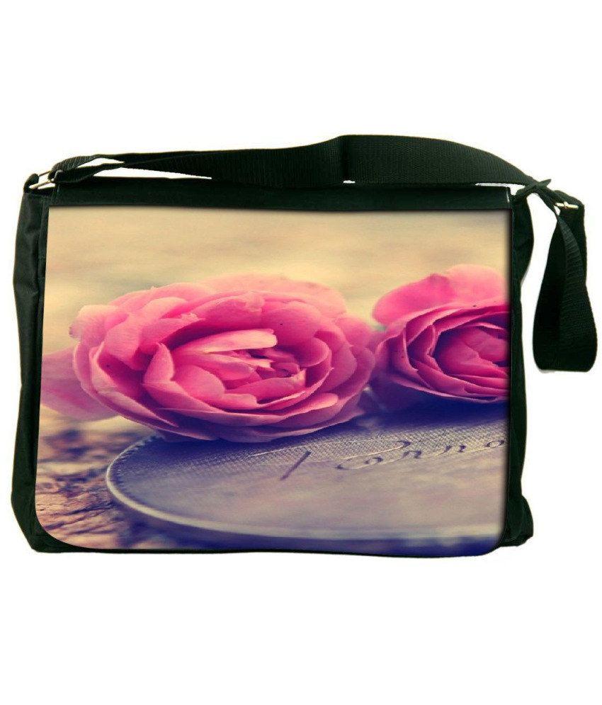 Snoogg Pink and Yellow Laptop Messenger Bag Pink and Yellow Messenger Bag