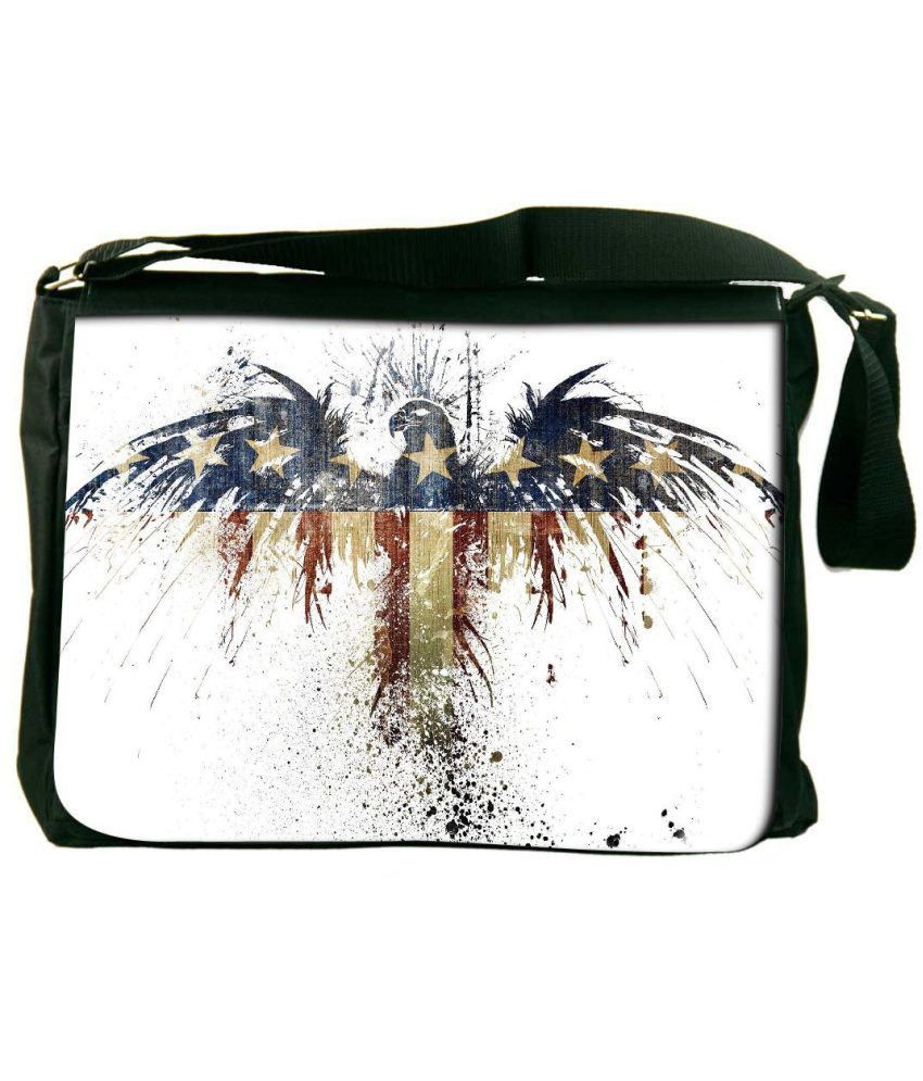 Snoogg White and Blue Laptop Messenger Bag White and Blue Messenger Bag