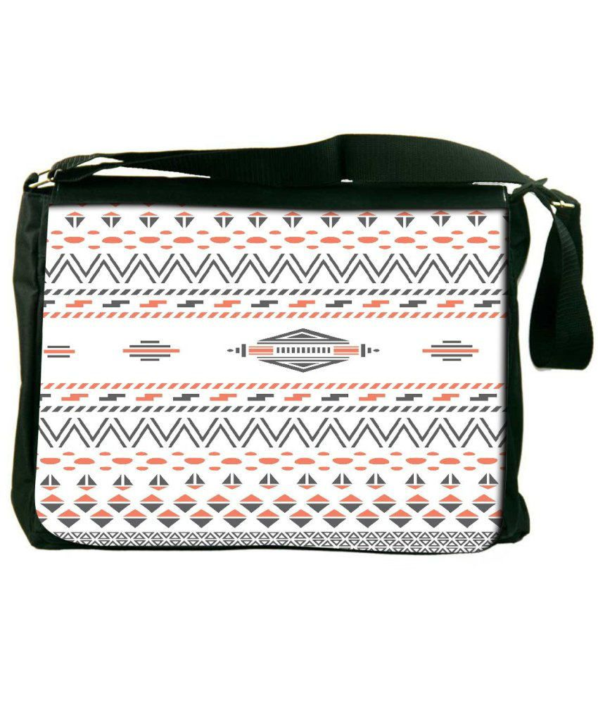 Snoogg White and Gray Laptop Messenger Bag White and Gray Messenger Bag