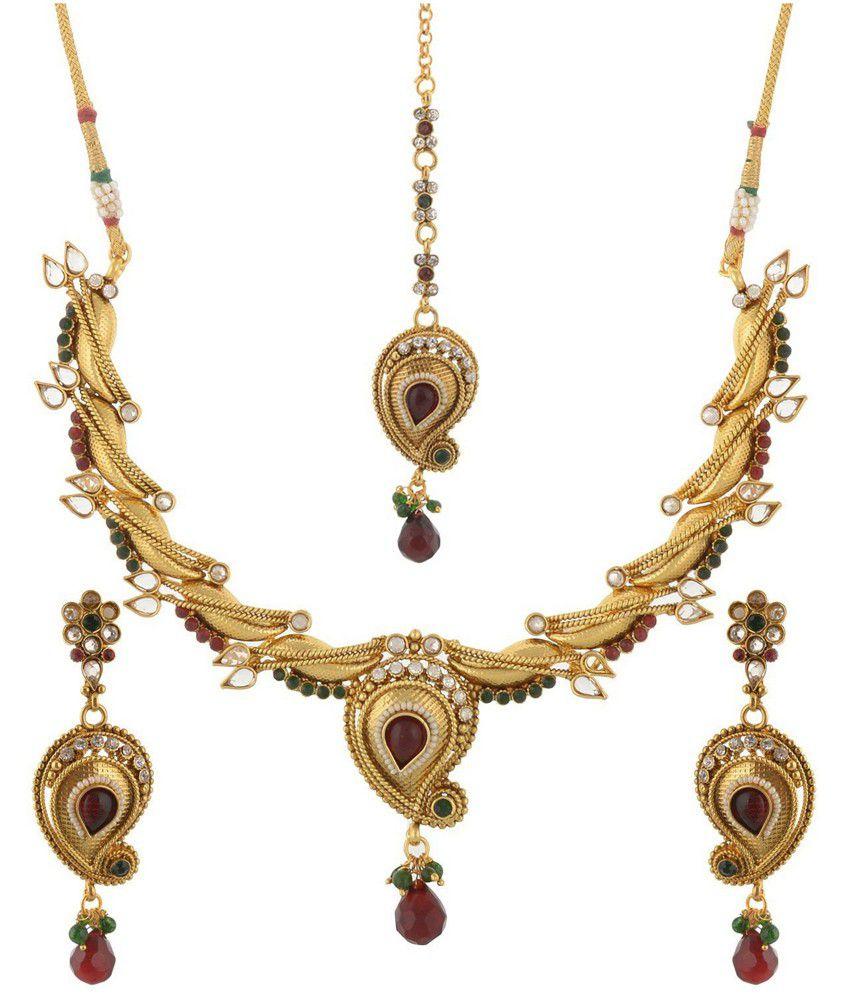Ganesh Gold Plated American Diamond Stone Jewel Set