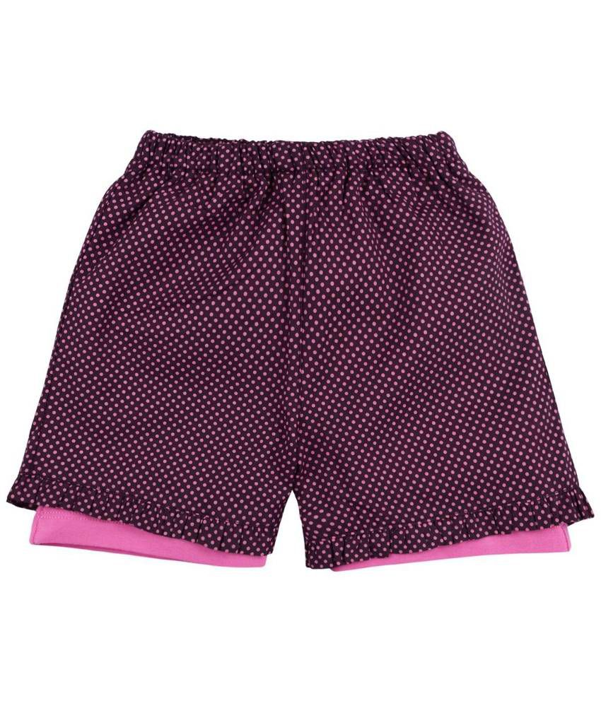 Oye Black & Pink Cotton Shorts for Girls