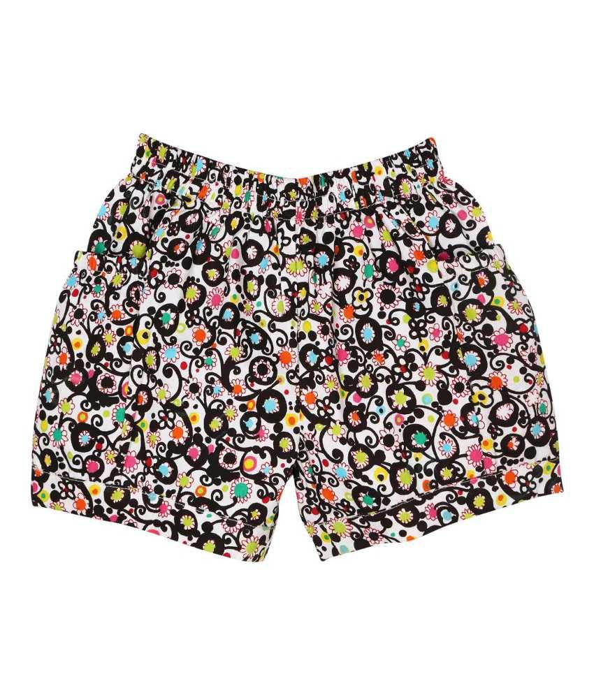 Oye Black & White Cotton Shorts for Girls