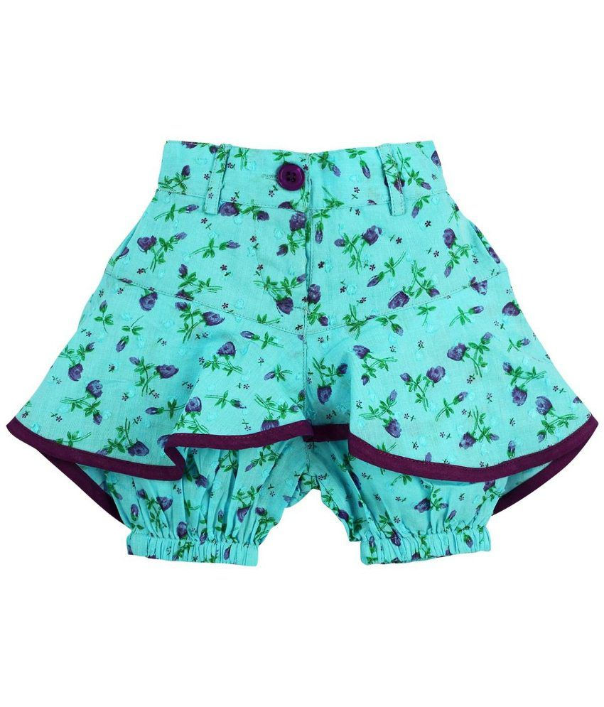 Oye Blue & Green Cotton Shorts for Girls