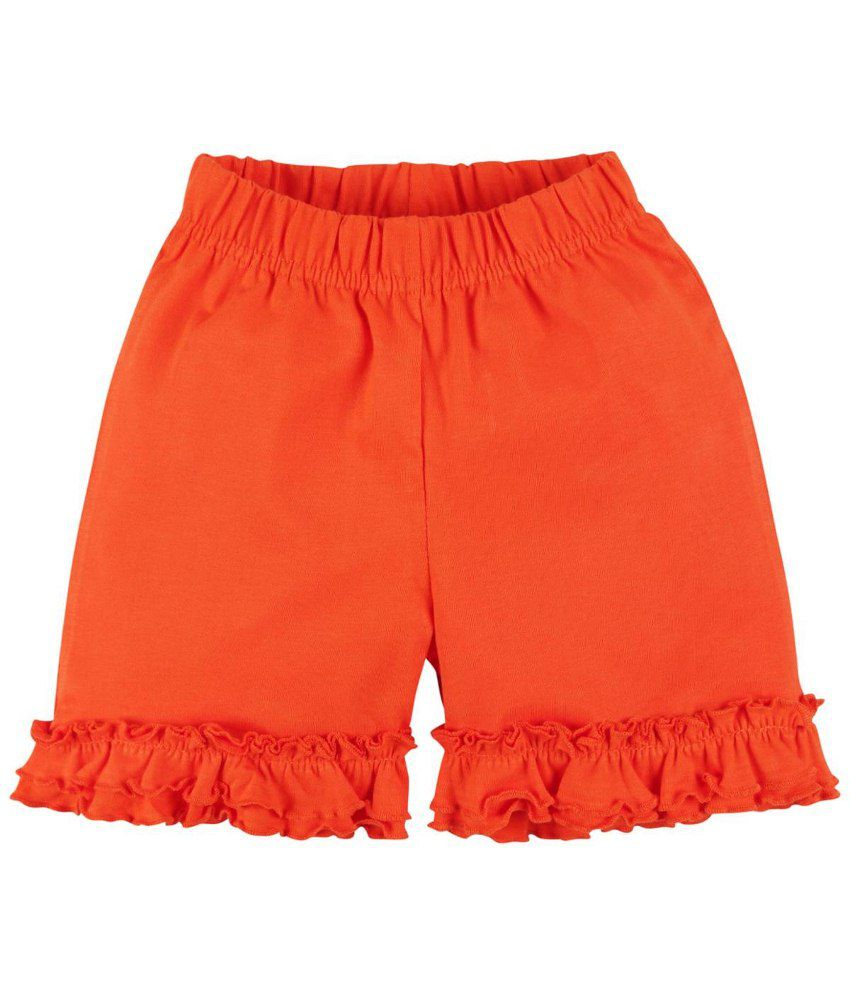 Oye Orange Cotton Shorts for Girls