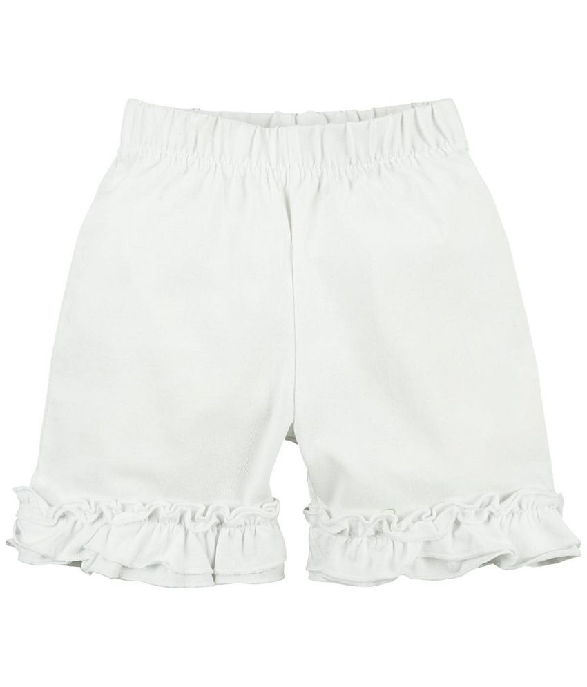 Oye White Cotton Shorts for Girls