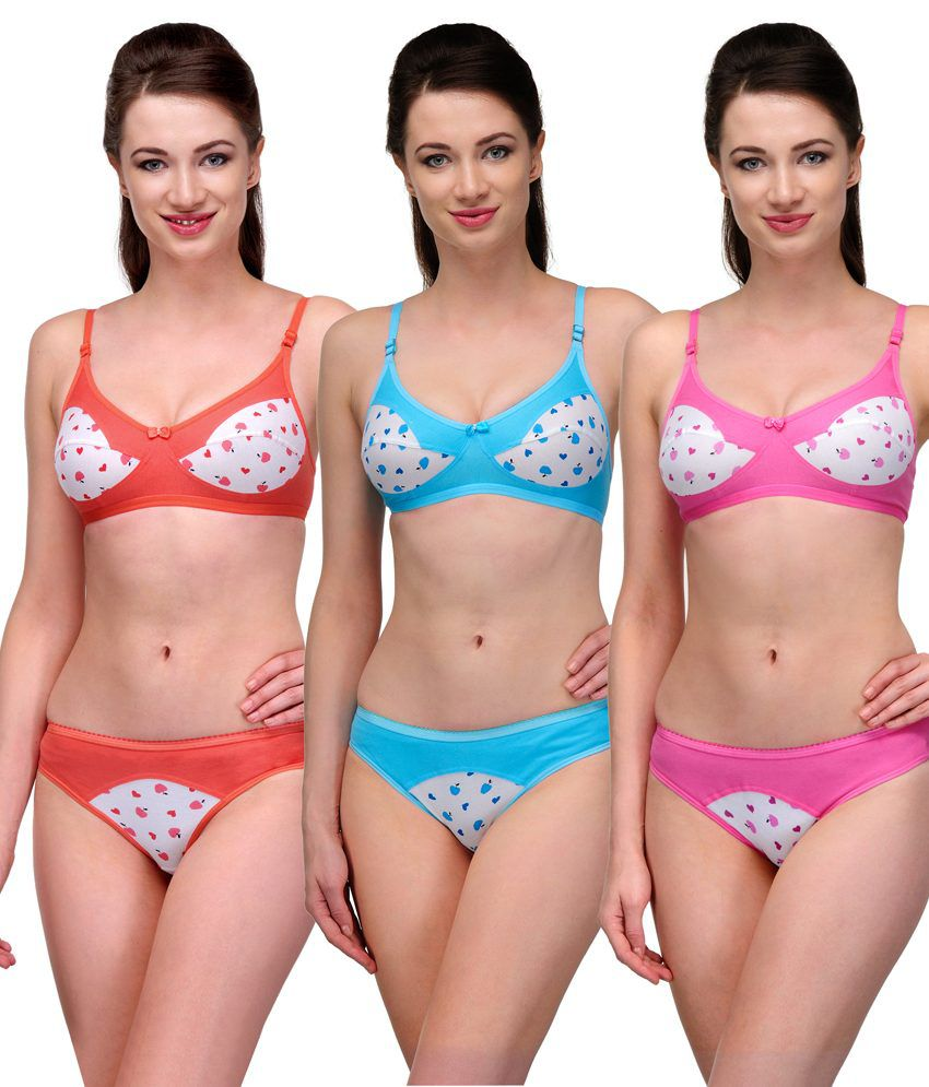 aa84f2bf66 Buy Softskin Multi Color Cotton Bra   Panty Sets Pack of 3 Online at ...