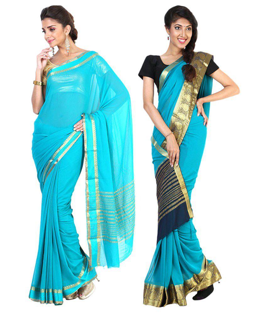 Sudarshan Silks Blue Semi Chiffon Saree (Pack of 2)