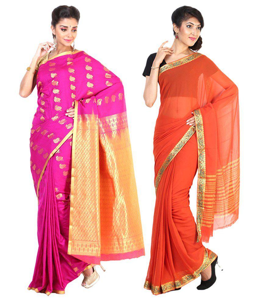 Sudarshan Silks Orange & Pink Semi Chiffon Saree (Pack of 2)