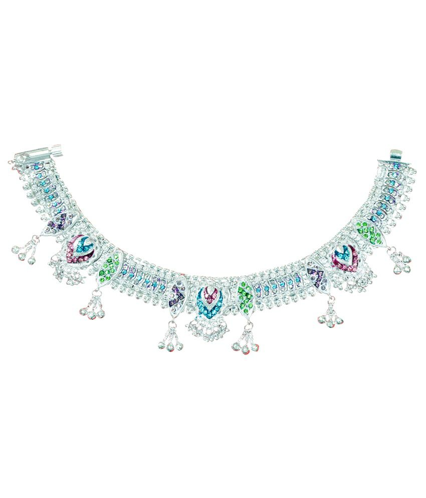 Manali Ornaments Silver Alloy Crystal Anklet