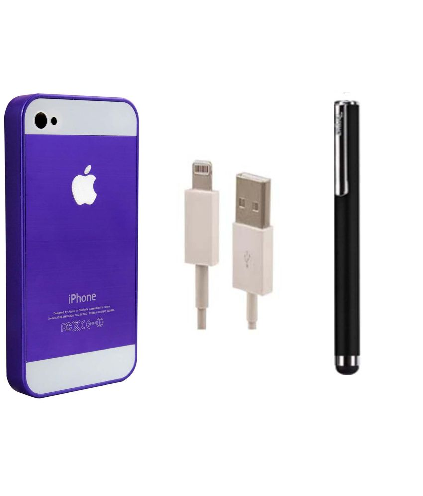 Nxg4u Combo Of Logo Purple Back Cover For Apple iPhone 4 With Data Cable And Stylus