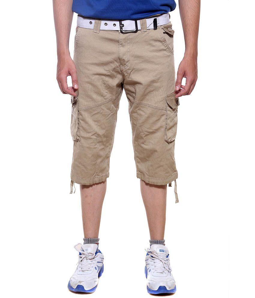Sports 52 Wear Khaki Cotton Shorts