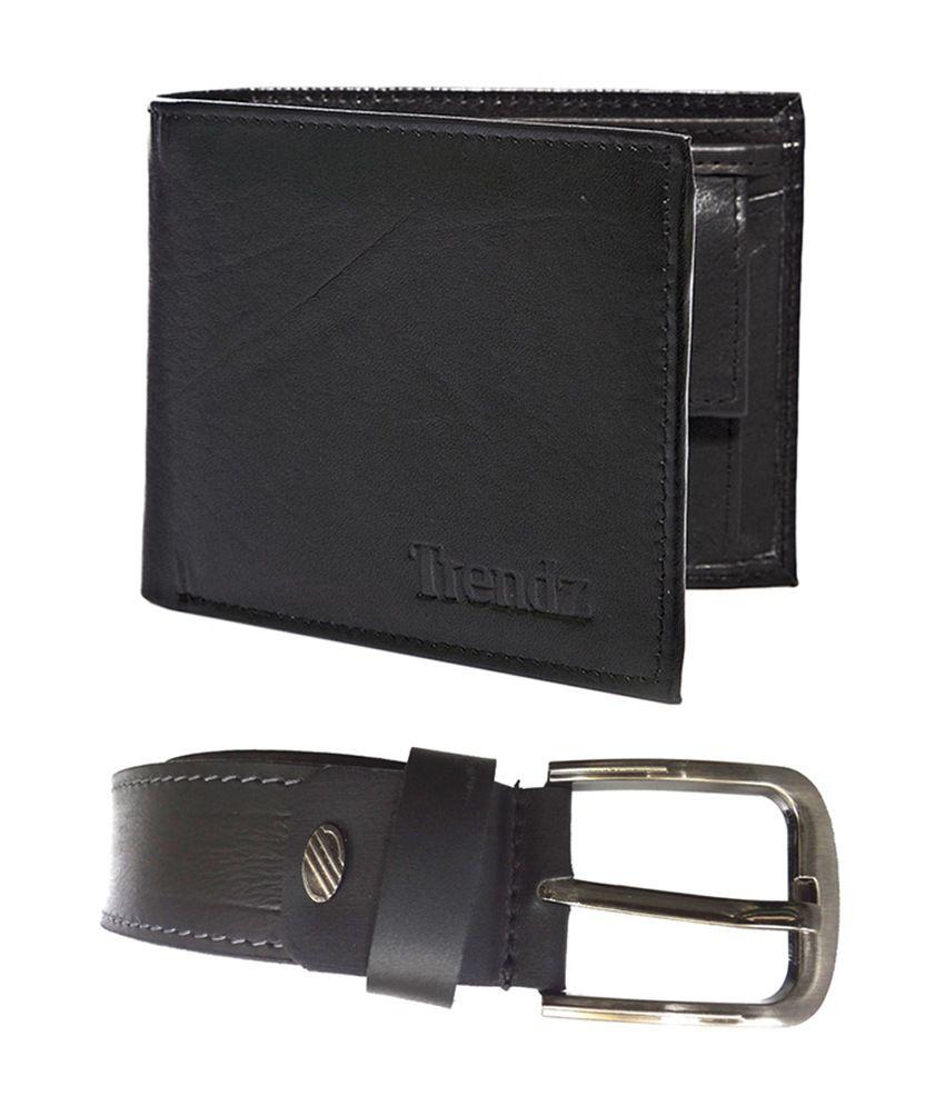 Trendz Genuine Leather Belt & Wallet in Black (Pack of 2)