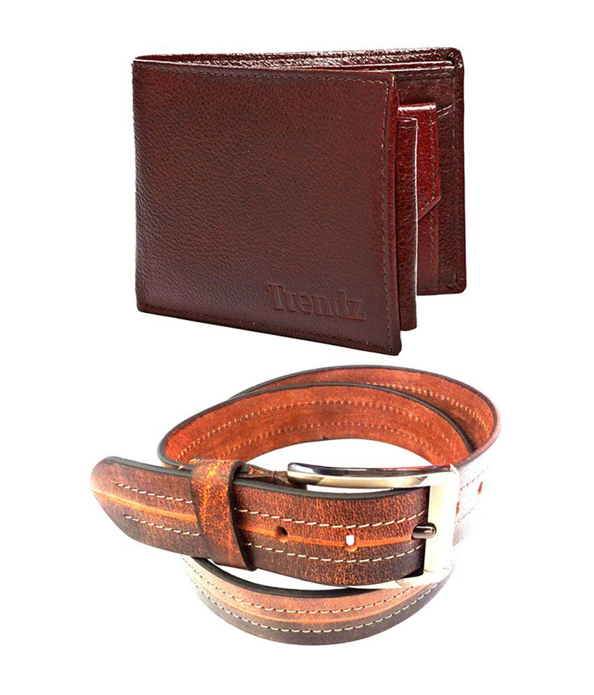 Trendz Genuine Leather Belt & Wallet in Brown (Pack of 2)