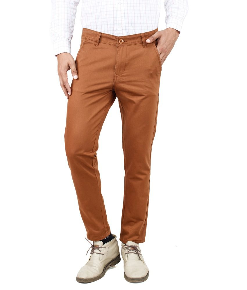 Uber Urban Brown Cotton Casuals Slim Fit Flat