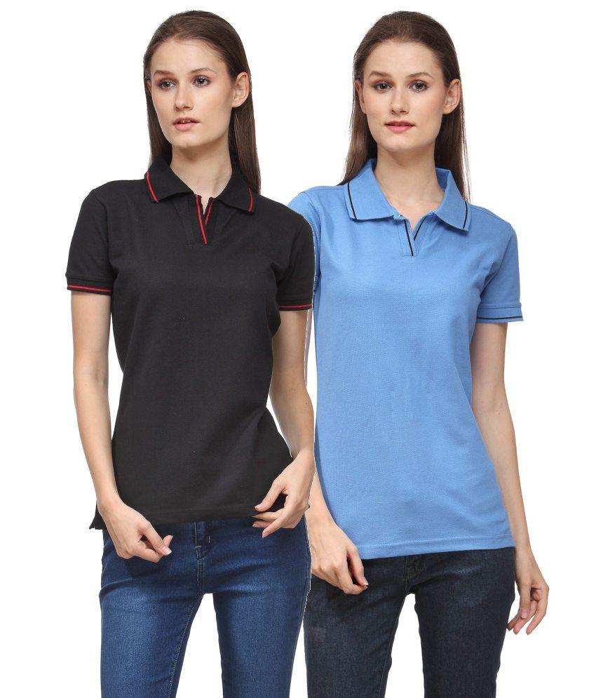 Scott International Combo of Black and Blue Cotton Blend Polo T-shirts (Set of 2)