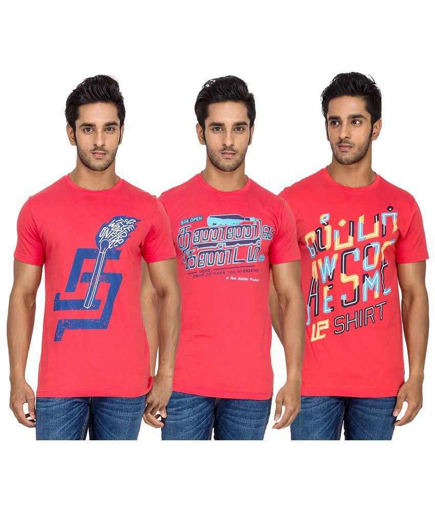 Tee Kadai Printed Cotton Round Neck T-Shirt - Pack of 3
