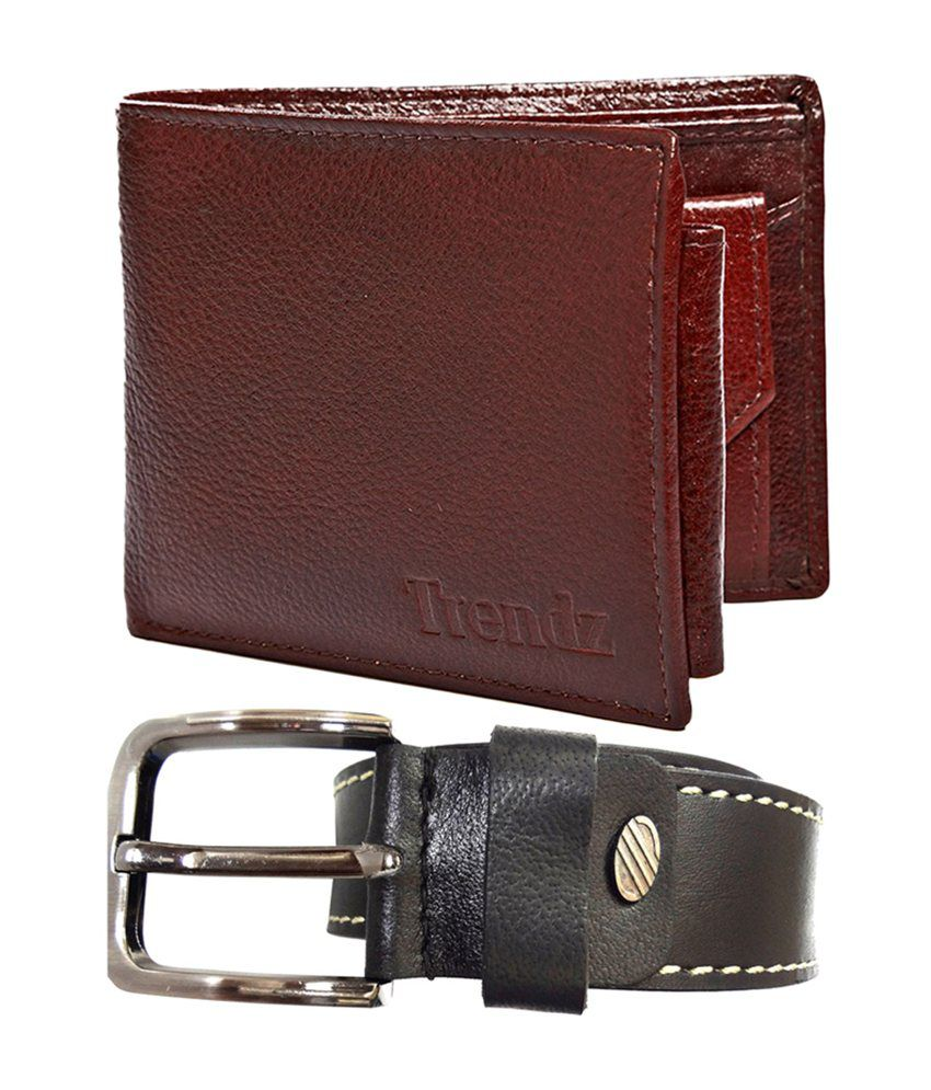 Trendz Black Genuine Leather Belt & Brown Wallet (Pack of 2)