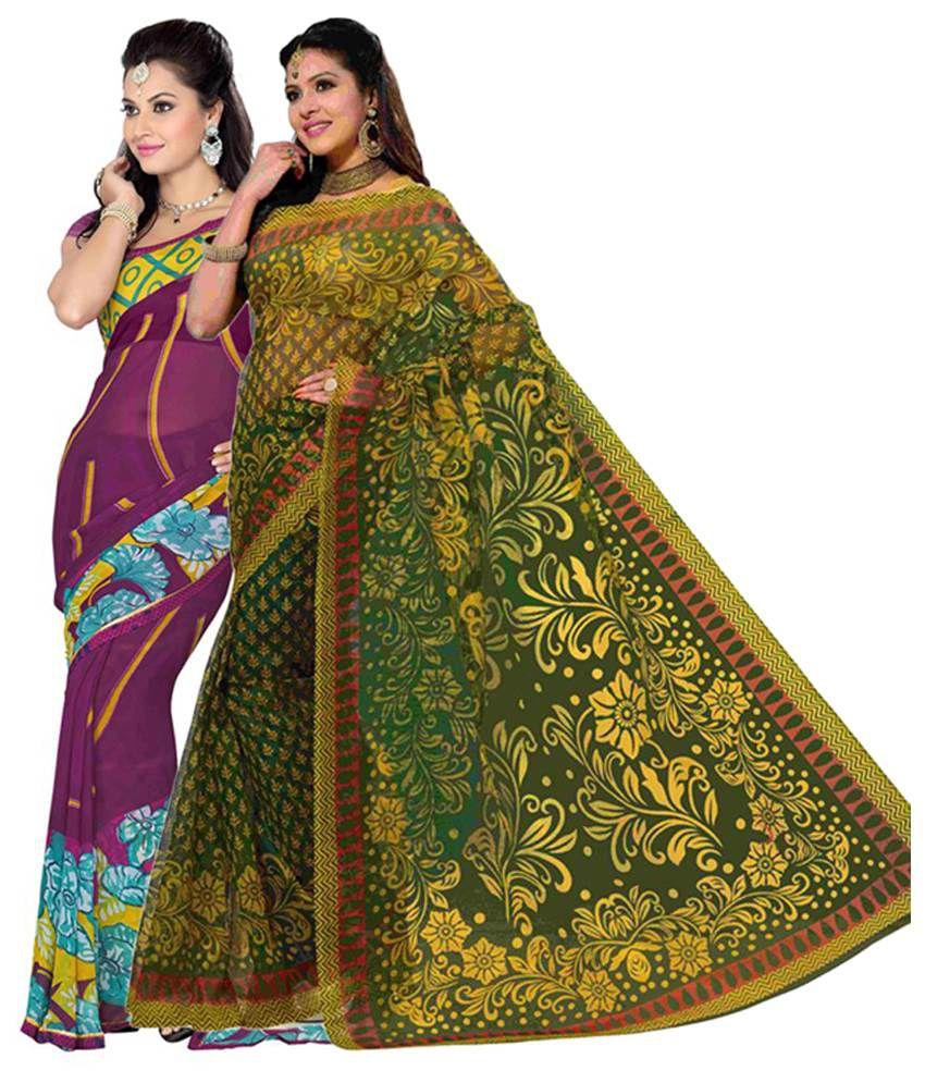 Vritika Green & Purple Art Silk Saree with Blouse (Pack of 2)