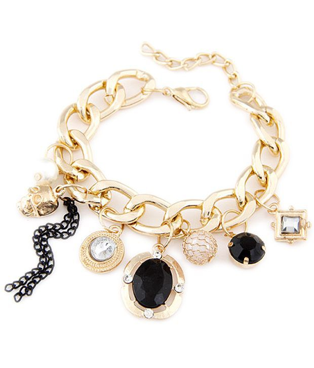 Cinderella Fashion Jewelry Golden & Black Bracelet for ...