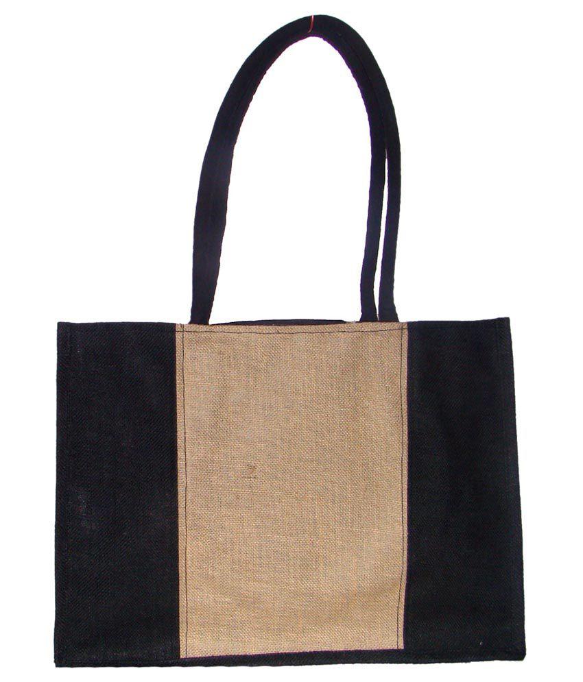 Foonty Black Jute Tote Bag