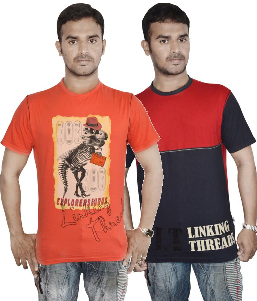 Linking Threads Orange and Red Cotton T-shirts (Combo of 2)