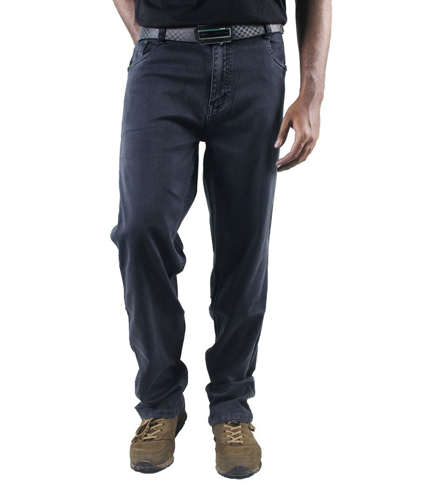 0-Degree Denim Grey Regular Slim Fit Jeans