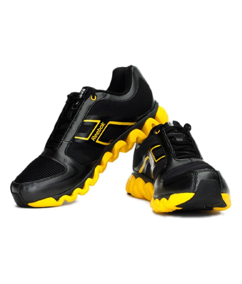 Reebok Black & Yellow Ziglite Run Men's Sport Shoes