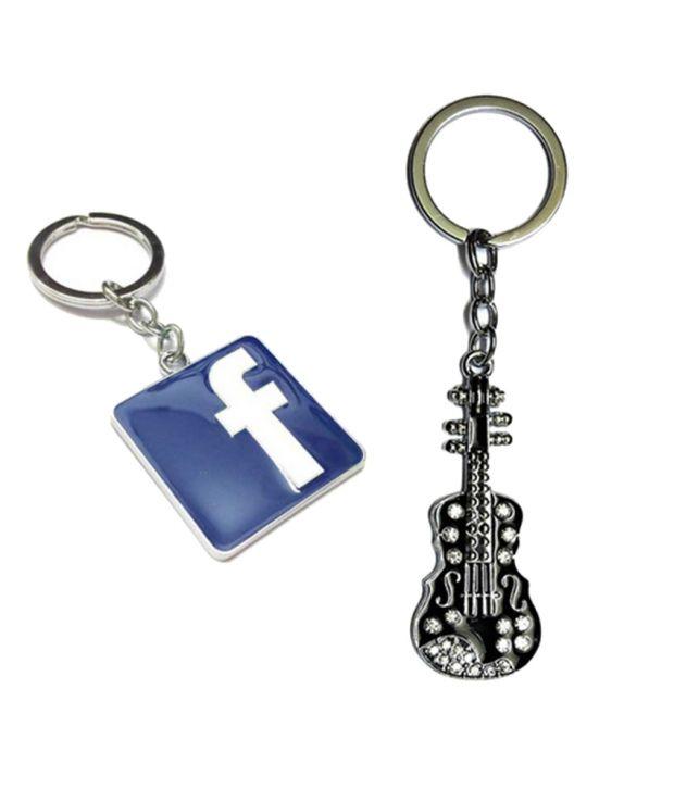 Alexus Combo of Facebook and Guitar Metal Key Rings (Pack of 2)