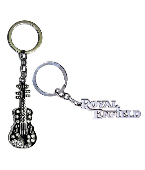 Alexus Combo of Guitar and Royal Enfield Metal Key Rings (Pack of 2)