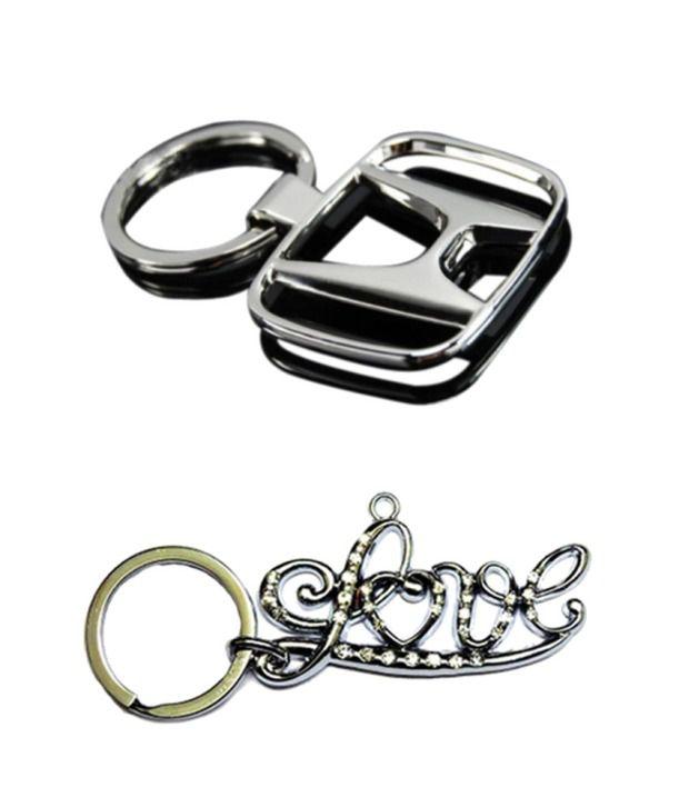 Alexus Combo of Honda and Love Metal Key Rings (Pack of 2)