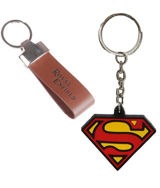 Alexus Combo of Royal Enfield and Superman Metal Key Rings (Pack of 2)
