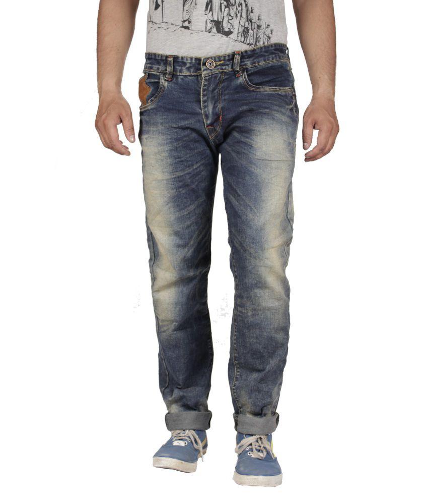 Flying Port Blue Cotton Blend Jeans