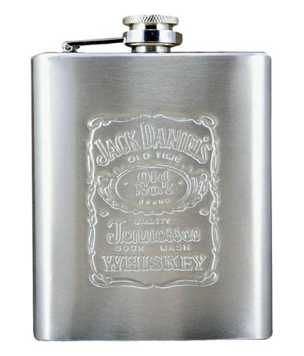 Jack Daniels Embossed Stainless Steel Wine Hip Flask 7oz