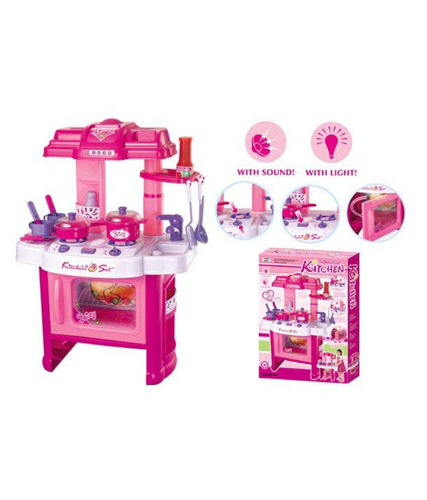 Gm enterprises pink kitchen set with music light buy for Kitchen set video song