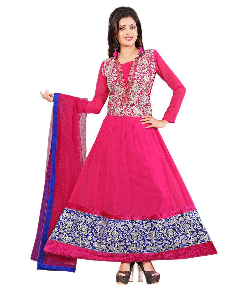 Lookslady Pink Faux Georgette Unstitched Dress Material
