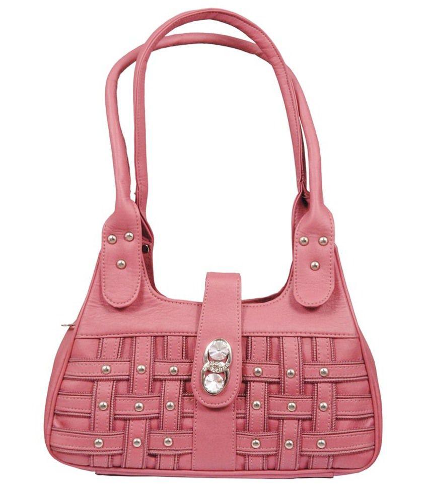 Swastika Pink Leather Shoulder Bags