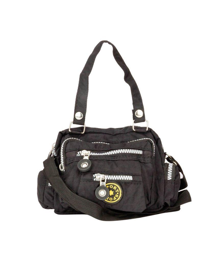 Swiss Design Black Zip Shoulder Bag