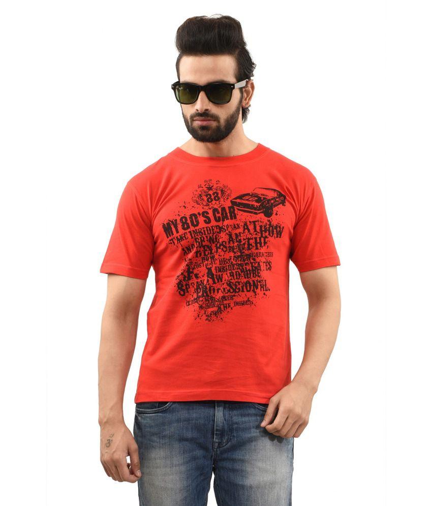 TSG Escape Red Cotton Round Neck Half Sleeve Printed T-Shirt