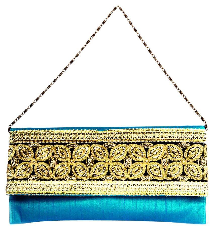 Adaa Blue Silk Magnit Button Clutch