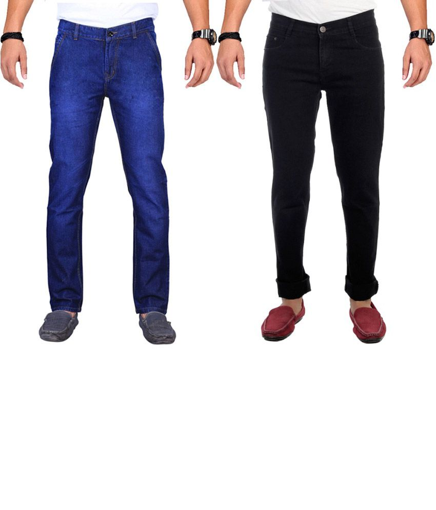 Ave Cotton Combo Of Blue And Black Faded Jeans