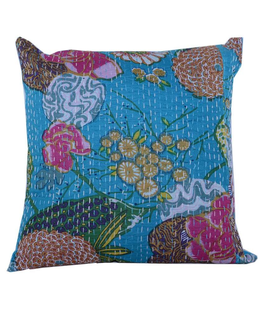 Lucky Handicraft Blue Cotton Cushion Cover