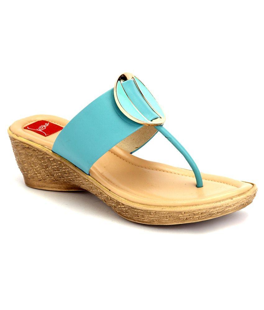 Shibha Footwear Turquoise Heeled Slip Ons