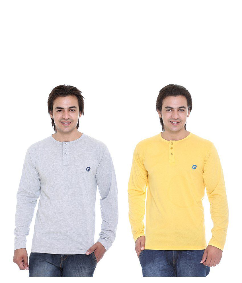 CEE FOR GREY & YELLOW HENLEY T-SHIRT COMBO PACK OF -2