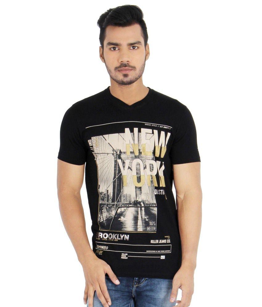 Killer Black Cotton T Shirt