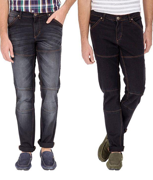 Rivernation Multicolor Cotton Blend Mid Rise Jeans - Combo of 2
