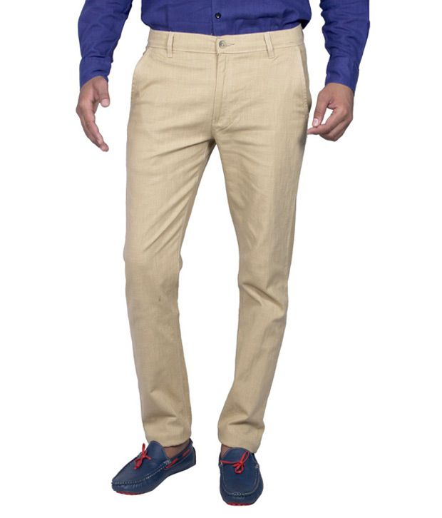 Routeen Beige Slim Casuals Trouser