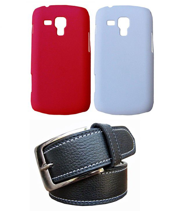 Winsome Deal Black Belt with 2 Back Cover Cases for Samsung Galaxy S Duos 7562