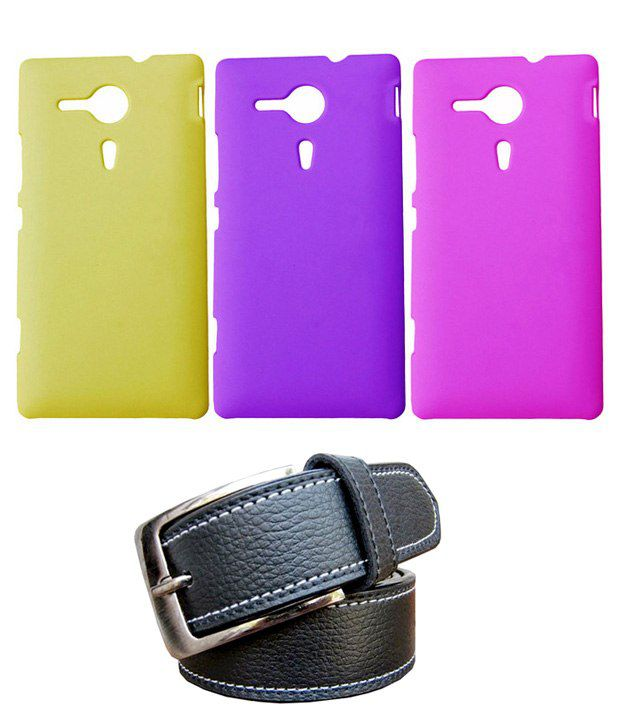 Winsome Deal Black Belt with 3 Back Cover Cases for Sony Xperia SP